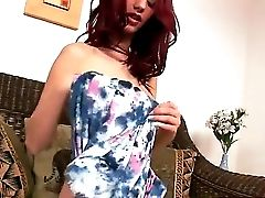 Red-haired Youthfull, But Ambitious Porn Industry Star Ariel Leisurely Takes Off Her Sundress On The Camera