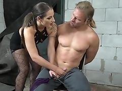 Femme Fatale Laura Noiret Gives A Hand Jobs To Tied Up Subordinated Dude