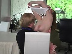 Old Man Fucks Pretty Youthful Chick Antonia Sainz Right On The Table