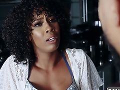 Curly Black Beauty Misty Stone Is Actually Glad To Rail Black Dick