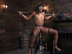 Nude Dark-hued Slaved And Hard Fucked With Fucktoys