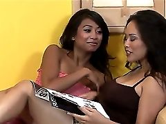 Two Wonderful Asian Lezzies Jessica Bangkok And Kina Kai Smooch Very Tenderly On A Couch