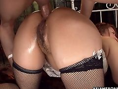 Crimson Haired Japanese Cowgirl Hinata Komine Is Blessed To Take Hard Double Penetration
