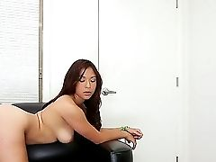 First-timer Dark Haired Janelle James Shows Her Natural Tits And Gets A Big Pecker In The Coochie
