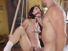 Uber-cute Brazilian Black Head Gina Valentina Is Tied Up And Mouthfucked Indeed Hard