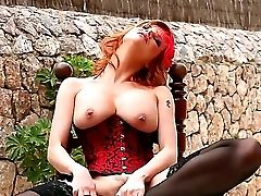 Revved On Experienced Ginger Whore Tara Milky With Big Caboose And Jiggly Hooters In Provocative Stockings And Corset Gets Crazy And Taunts With Her T