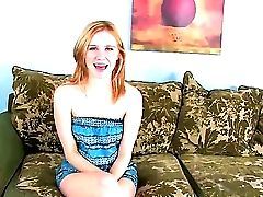 Youthful Crimson-haired Cutie Uncovering Her Perky Funbags And Hot Smoothly-shaven Labia During Casting
