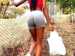 Sexy Black Stunner Is Seduced Outdoors For Indeed Nice Casual Rear End Banging