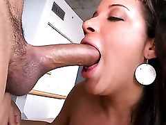 Brown-haired Selena Starlet With Gigantic Melons And Bald Snatch Shows Her Oral Talents In Oral Activity With Horny Fuck Mate