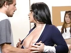 Buxom Schoolteacher Gets The Hold Of This Student's Big Stiffy