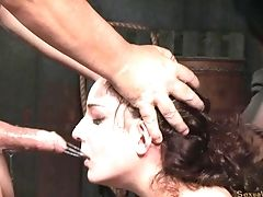 Enticing Minx Loves Being Restrained And Sucking On Chisels