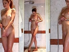 Skinny First-timer Mia Y Gets Naked And Takes A Hot Bathroom In Hd