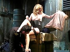 Horny Mistress Mona Wales Bangs Tied Up Subordinated Dude And Bj's His Sausage