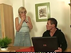 He Fucks Old Mom-inlaw On The Table