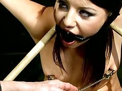 Restrained Dark Haired Lady Karen Gets Her Tits Tormented With