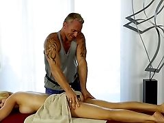 Big-boobed Blonde Gets Intimate With The Horny Massagist