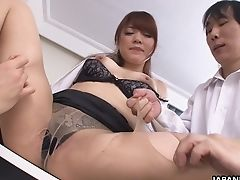 Big Titted Japanese Office Biotch Mari Motoyama Works On Two Peckers At Once