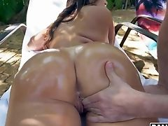 Cuban Seductress Julianna Vega Is Oiled Up And Fucked By The Pool