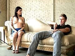 Talkative Brown-haired Chick In Blue Sundress Unzips Dude's Pants To Suck Dick