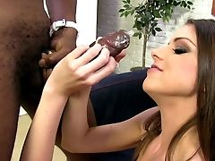 Dirty-minded And Sexy Dark Haired Brooklyn Chase Works On Big Black Cock With Joy